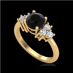1.5 ctw Fancy Black Diamond Engagement Ring 18K Yellow Gold