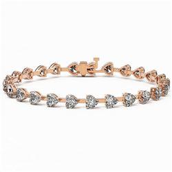 8 ctw Heart Diamond Designer Bracelet 18K Rose Gold
