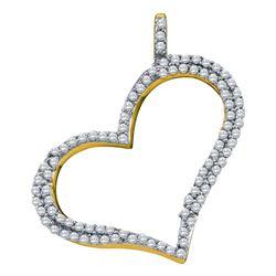 10kt Yellow Gold Round Diamond Outline Heart Pendant 1/3 Cttw