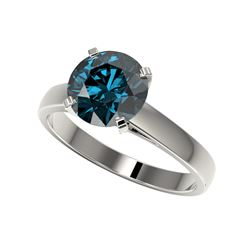 2.50 ctw Certified Fancy Blue SI Diamond Solitaire Ring 10K White Gold