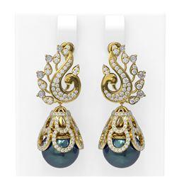 3.13 ctw Diamond and Pearl Earrings 18K Yellow Gold
