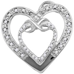 10kt White Gold Round Diamond Nested Double Heart Pendant 1/10 Cttw