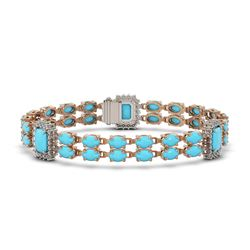 14.28 ctw Turquoise & Diamond Bracelet 14K Rose Gold