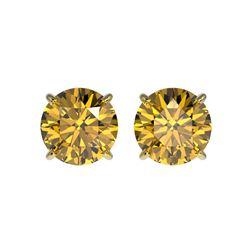 2.11 ctw Certified Intense Yellow Diamond Stud Earrings 10K Yellow Gold