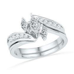 10kt White Gold Marquise Diamond 3-Stone Bridal Wedding Engagement Ring Band Set 1/2 Cttw