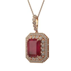 16.46 ctw Certified Ruby & Diamond Victorian Necklace 14K Rose Gold