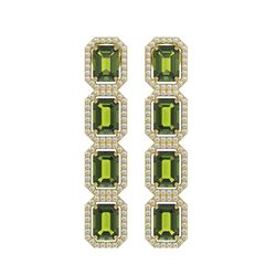 12.41 ctw Tourmaline & Diamond Micro Pave Halo Earrings 10K Yellow Gold