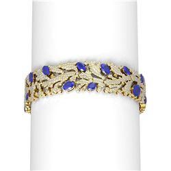 26.57 ctw Sapphire & Diamond Bracelet 18K Yellow Gold