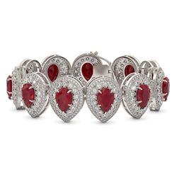 56.04 ctw Certified Ruby & Diamond Victorian Bracelet 14K White Gold