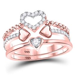 14kt Rose Gold Round Diamond 2-Piece Beaded Heart Band Ring Set 1/3 Cttw