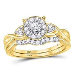 10kt Yellow Gold Round Diamond Halo Twist Bridal Wedding Engagement Ring Band Set 1/3 Cttw