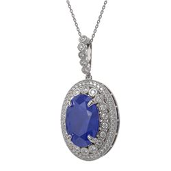 18.25 ctw Sapphire & Diamond Victorian Necklace 14K White Gold