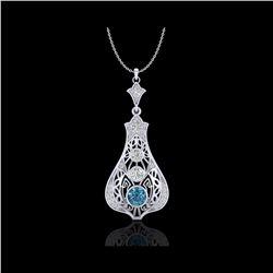 1.75 ctw Fancy Intense Blue Diamond Art Deco Necklace 18K White Gold