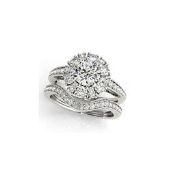 2.44 ctw Certified VS/SI Diamond 2pc Wedding Set Halo 14K White Gold