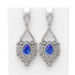 10.26 ctw Tanzanite & Diamond Earrings 18K White Gold