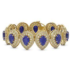 56.04 ctw Sapphire & Diamond Victorian Bracelet 14K Yellow Gold