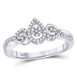 10kt White Gold Round Diamond Teardrop Cluster Curl Ring 1/8 Cttw