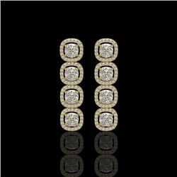 5.28 ctw Cushion Cut Diamond Micro Pave Earrings 18K Yellow Gold