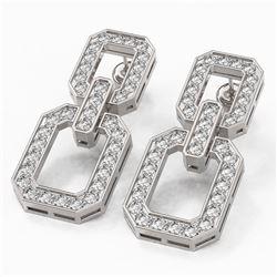 3.32 ctw Diamond Designer Earrings 18K White Gold