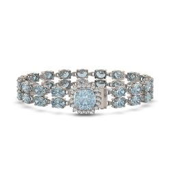 14.93 ctw Aquamarine & Diamond Bracelet 14K White Gold