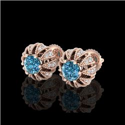 2.01 ctw Fancy Intense Blue Diamond Art Deco Earrings 18K Rose Gold