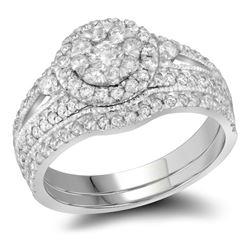 14kt White Gold Round Diamond Double Halo Bridal Wedding Engagement Ring Band Set 1.00 Cttw