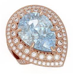 18.04 ctw Certified Sky Topaz & Diamond Victorian Ring 14K Rose Gold