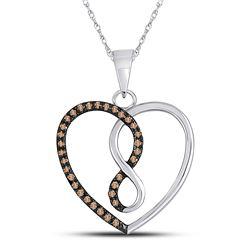 10kt White Gold Round Brown Diamond Heart Infinity Pendant 1/8 Cttw