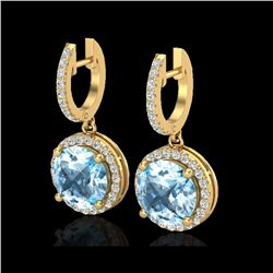 5.50 ctw Sky Blue Topaz & Micro Pave VS/SI Diamond Earrings 18K Yellow Gold