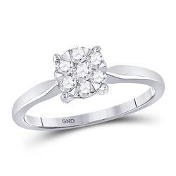 10kt White Gold Round Diamond Flower Cluster Ring 1/3 Cttw