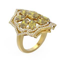 6.2 ctw Canary Citrine & Diamond Ring 18K Yellow Gold