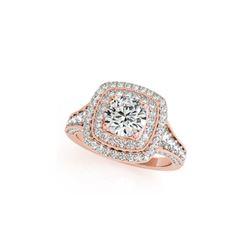 2 ctw Certified VS/SI Diamond Halo Ring 18K Rose Gold