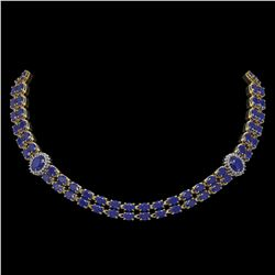 43.13 ctw Sapphire & Diamond Necklace 14K Yellow Gold