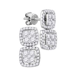18kt White Gold Round Diamond Convertible Square Dangle Jacket Earrings 1-3/8 Cttw