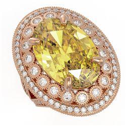18.67 ctw Canary Citrine & Diamond Victorian Ring 14K Rose Gold