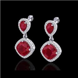 7 ctw Ruby & Micro Pave VS/SI Diamond Earrings Designer 10K White Gold