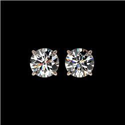 1.97 ctw Certified Quality Diamond Stud Earrings 10K Rose Gold