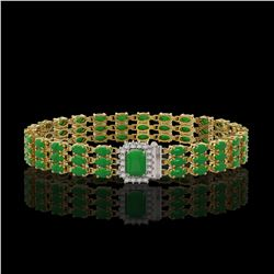 18.41 ctw Jade & Diamond Bracelet 14K Yellow Gold