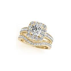 1.3 ctw Certified VS/SI Diamond 2pc Wedding Set Halo 14K Yellow Gold