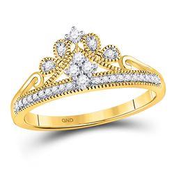 10kt Yellow Gold Round Diamond Crown Tiara Fashion Ring 1/6 Cttw