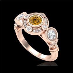 1.51 ctw Intense Fancy Yellow Diamond Art Deco Ring 18K Rose Gold