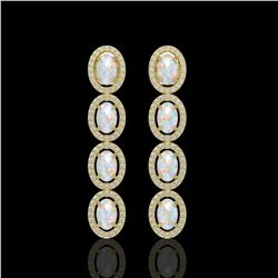 4.05 ctw Opal & Diamond Micro Pave Halo Earrings 10K Yellow Gold
