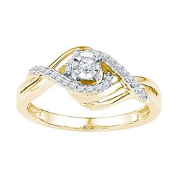 10kt Yellow Gold Round Diamond Solitaire Bridal Wedding Engagement Ring 1/5 Cttw