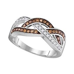10kt White Gold Round Brown Diamond Crossover Band Ring 1/3 Cttw