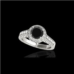 2.56 ctw Certified VS Black Diamond Solitaire Halo Ring 10K White Gold