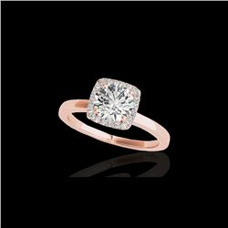 1.15 ctw Certified Diamond Solitaire Halo Ring 10K Rose Gold
