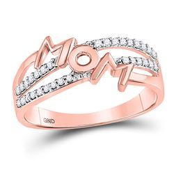 10kt Rose Gold Round Diamond Mom Mother Band Ring 1/6 Cttw