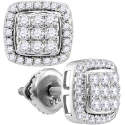 10kt White Gold Round Diamond Square Cluster Screwback Earrings 1.00 Cttw