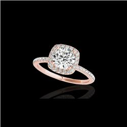 1.5 ctw Certified Diamond Solitaire Halo Ring 10K Rose Gold
