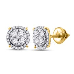 10kt Yellow Gold Round Diamond Cindy's Dream Cluster Earrings 1/4 Cttw